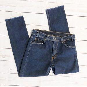 Levi's high waisted raw hem skinny jeans